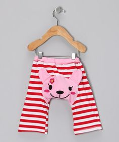 Loving this Red & Pink Stripe Puppy Pants - Infant on #zulily! #zulilyfinds