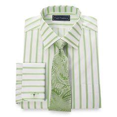 Paul Fredrick Mens Cotton Twin Stripe Button Cuff Dress Shirt