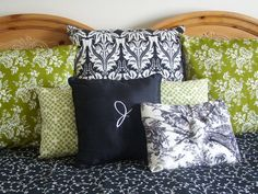 Black, White & Green Bedroom... pillows