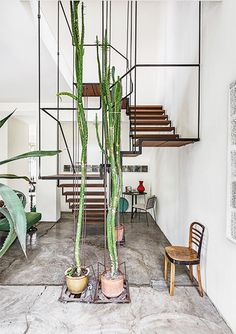 PIN NINE: This staircase support system has been created with thin metal poles. The placement of the poles on the stair case creates shape in the form of rectangle and square. The use of the single chair and few plants creates a minimalist industrial interior style.