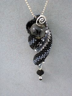 Black and Silver Curl Pendant - Jewelry By Ellen