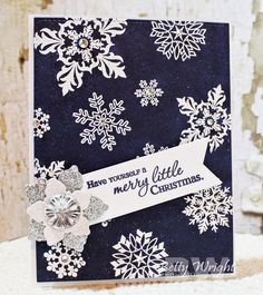 Christmas card using Verve's Merry & Bright, Unto Us, Glad Tidings, Holiday Greetings, Holiday Treats, and Ornamental Christmas stamp sets and accented with Verve's Snowflake Tidings Cut Above die. Christmas cards #vervestamps