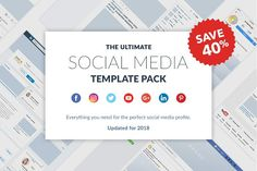 Ultimate Social Media Template Pack by Poego on Facebook Page Template, For Facebook, Social Media Template, Social Media Design, Business Brochure, Business Card Logo, Mode Xl, Tips Instagram, Facebook Instagram