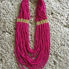 """Fuchsia beaded necklace Hot pink/gold beaded statement necklace.  16"""" long plus 3"""" extender chain.  Never worn! Jewelry Necklaces"""