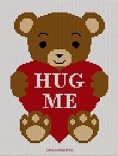 Bear Heart Hug Me Afghan Crochet Pattern Graph 100st