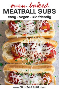 These Oven Baked Vegan Meatball Subs are a perfect easy family dinner for busy days, all the kids loved them! Great for parties or game-day food as well. Easy Vegan Dinner, Vegetarian Recipes Dinner, Vegan Dinners, Vegetarian Kids, Dinner Recipes, Meatball Subs, Meatball Recipes, Vegan Meatballs, Vegan Meal Plans