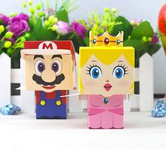 50 Princess Peach and Super Mario Party Favors/DIY Nintendo Themed Party Favors/Video Game Gift Boxe Hama Beads Minecraft, Perler Beads, Super Mario Birthday, Mario Birthday Party, Super Mario Party, 5th Birthday, Art Hama, Wedding Candy Boxes, Mario Bros.