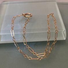 14k link bracelet/ 14k chain bracelet by EllynBlueJewelry on Etsy https://www.etsy.com/listing/245982698/14k-link-bracelet-14k-chain-bracelet