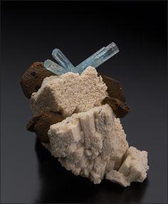 Beryl var.Aquamarine with Siderite - Erongo Mtns., Namibia Size: 5.9 x 4.3 cm