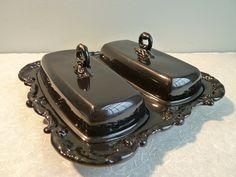 Butterdish - Gloss Black Upcycled Vintage Silverplate by BMC Vintage Design Studio. Food safe.