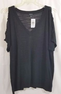 Torrid Shirt 3 Women Black Lattice Sleeve Dolman V Neck Top New With Tags #Torrid #KnitTop