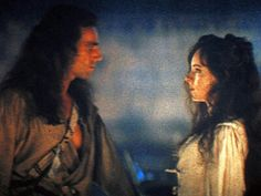 I'd love to have a man look at me the way he looks at her throughout the movie. Intense. ❤❤  Madeline Stowe & Daniel Day Lewis in THE LAST OF THE MOHICANS