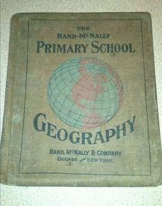 antique geography schoolbook rand mcnally usa maps history chicago ny rare