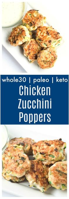 Whole30 Chicken Zucchini Poppers (Paleo, Keto) - a tasty snack, main dish, or make ahead meal. These savory bites are juicy, packed with veggies, and super family friendly! Whole30 + Paleo + Keto | tastythin.com