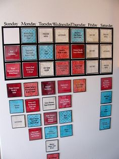 neat idea for a menu planner- magnetic so it goes on the side of the fridge Meal Planning Calendar, Meal Planning Board, Family Meal Planning, Family Meals, Menu Calendar, Meal Planing, Family Planner, Magnetic Calendar, Weekly Calendar
