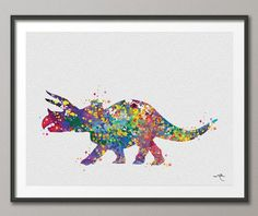 Triceratops Dinosaur Art Print Watercolor Painting Art Print For Kids Children's Wall Art Wall Decor Art Home Decor Wall Hanging No 26