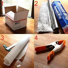 "1. How to get studio quality photos at home 1: 1. A cardboard box you can use to cut a piece from. 2. A roll of aluminum foil, it's easier with a wider one. 3. A piece of tracing paper of at least 20"" of width and 3 feet in length. You can also use any white, no color, translucent material that you have around your home. 4. One 6"" spring clamp."