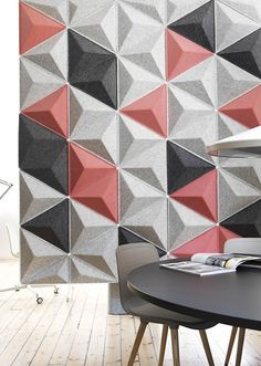 Combining the sound-absorbing conforming modules into creative partitions elicits a dynamic interplay of lines and shadows. Diy Arts And Crafts, Paper Crafts, Acoustic Fabric, Paper Wall Art, Geometric Decor, Facade Design, Interior Decorating, Wall Decor, Flooring