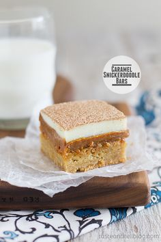 Caramel Snickerdoodle Bars #recipe
