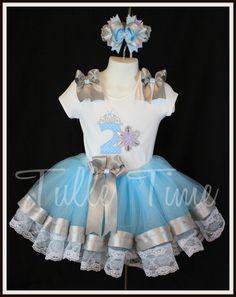 Frozen Snow Princess number ribbon lace trim tutu by Tulletime