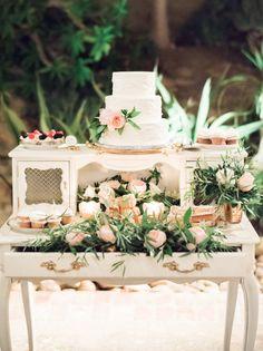 dessert table on vintage style furniture