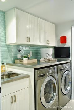 stainless steel counters - built in sink Rambling Renovators - House of Turquoise