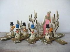 Vintage Snowman With Top Hats Snow And Pink House Wood