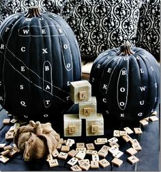 Chalkboard word find pumpkins.  SO cute!