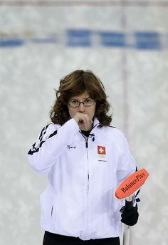 DAY 13:  Mirjam Ott of Switzerland competes during the Curling Women's Semifinal - Sweden vs. Switzerland http://sports.yahoo.com/olympics