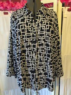 Cato Woman Black White Long Sleeve Blouse 26 28W | eBay