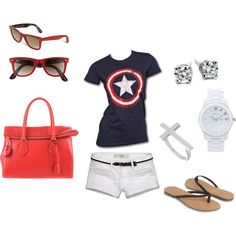 4th of july/captian america, created by dolcelowell on Polyvore