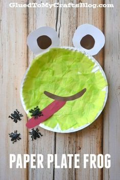 Paper Plate Frog - Kid Craft Paper plate ideas and activities for kids kids' crafts Paper Plate Art, Paper Plate Crafts For Kids, Paper Plates, Paper Plate Animals, Paper Napkins, Daycare Crafts, Classroom Crafts, Classroom Teacher, Preschool Crafts