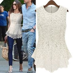Amazon.com : Women 2014 Summer New Sleeveless Slim Lace Women Jacket (M, White) : Baby