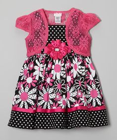 Look at this Youngland Black & Pink Floral Dress & Shrug - Toddler & Girls on #zulily today!