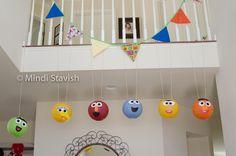 What a wonderful way to use our lanterns! Elmo Birthday, Boy Birthday Parties, Birthday Ideas, Elmo Party, Party Party, Party Ideas, Lantern Decorations, Paper Lanterns, Sesame Street Party