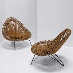 Vittorio Bonacina Lounge #chairs produced by Vittorio Bonacina, Italy c1950′s. Woven cane & metal. #chair #furniture