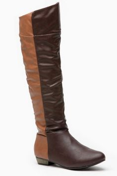 Bamboo Two Tone Panel Knee High Brown Rider Boot