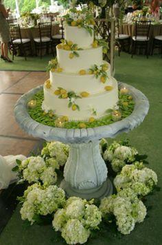 Floral - Stone Birdbath Wedding Cake Table