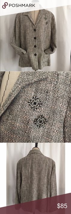 Jones New York tweed blazer with brooches EUC. Only worn a few times! Size 20W. Comes with the two pins as seen in photo. They are attached to the jacket. 4 buttons and two pockets. 66% viscose / 25% cotton / 9% acrylic. More pictures upon request. Jones New York Jackets & Coats Blazers