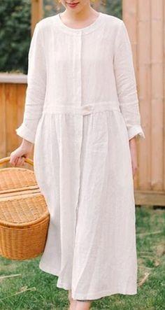 White Linen Women Dress Long Sleeve Women Linen Shirts Dresses With Buttons Linen Shirts, Linen Shirt Dress, Summer Work Outfits, Summer Dresses For Women, Spring Dresses, Dresses Short, Dress Long, White Linen Dresses, White Dress