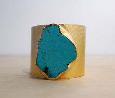 Gold Turquoise Cuff - Americana by Charlene K