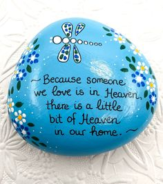 Memory Rock, Custom Memorial Rock, Painted Stone in Memory of a Loved One, Hand Painted Rock, Graveside Memorial Rock Painting Ideas Easy, Rock Painting Designs, Painting For Kids, Painted Rocks Craft, Hand Painted Rocks, Painted Stones, Dremel, Mosaic Flower Pots, Mosaic Garden