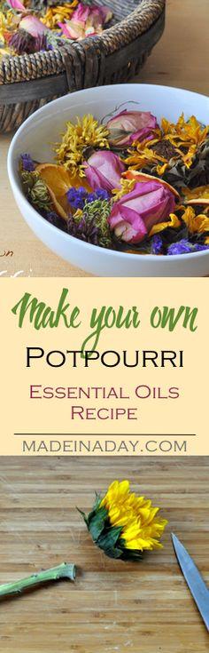 Make your own potpourri using dried flowers, dried orange and lemon slices and my citrus essential oils recipe. DIY potpourri