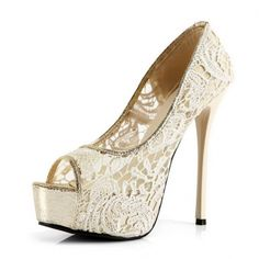 Women's #Fashion #Shoes: Kvoll Women's Open Peep Toe Solid High Platform Stiletto Heels White Lace and Mesh Pumps Shoes