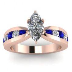 Marquise Blue Sapphire Tapered - Here's an exemplary 14K Rose Gold Marquise Blue Sapphire Tapered Diamond Ring