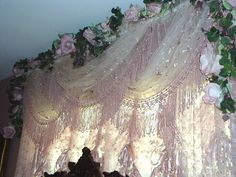 "Shabby Chic Victorian Style Lace ""Center"" Valance Rose/Pink Photo Prop"