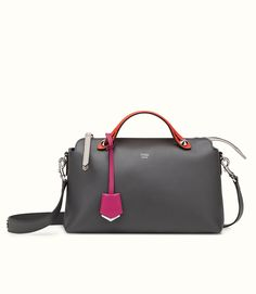 Fendi By The Way Bag, featuring a top handle in a gray color with color trim