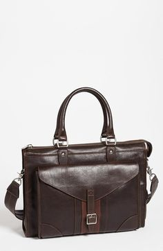 $750, Martin Dingman Rudyard Martingale Briefcase Dark Brown One Size. Sold by Nordstrom. Click for more info: https://lookastic.com/men/shop_items/60374/redirect