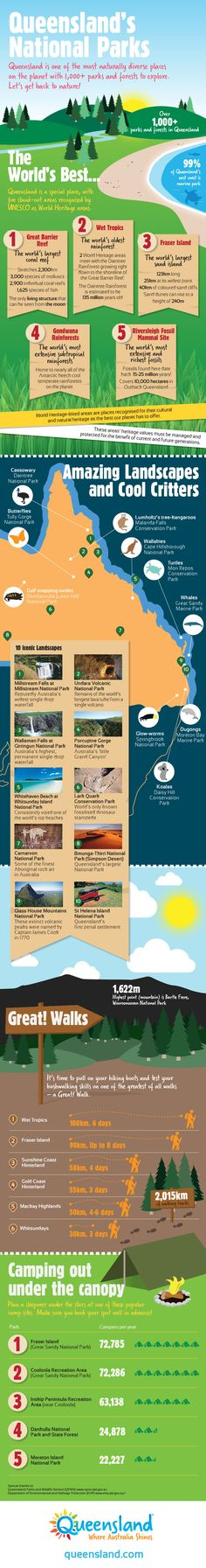 Infographic highlighting the unique and beautiful features we have in Queensland. #nationalpark #animals #camping