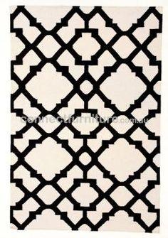 Flat Weave Trellis Design White Black Rug - Rugs Of Beauty White Trellis, Trellis Design, Lattice Design, Black Rug, Black White, 17 Black, White Rug, Black Wool, Dhurrie Rugs